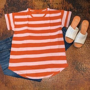 NWT Madewell Whisper Cotton Crew in Rugby Tee